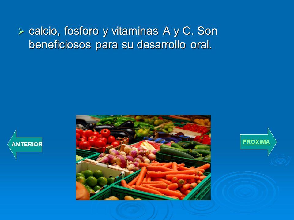 calcio, fosforo y vitaminas A y C