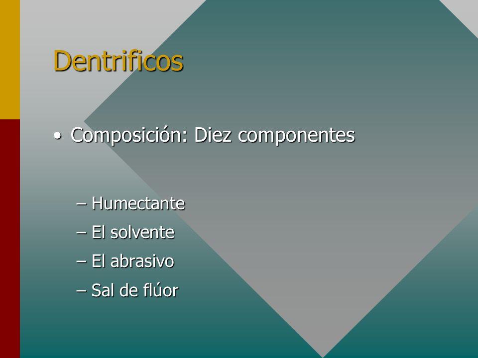 Dentrificos Composición: Diez componentes Humectante El solvente