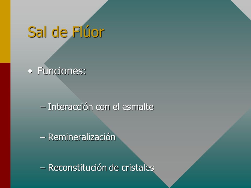 Sal de Flúor Funciones: Interacción con el esmalte Remineralización