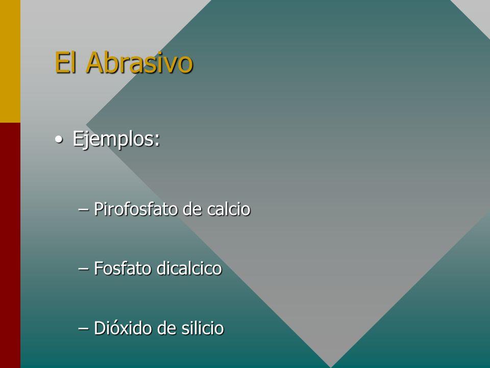 El Abrasivo Ejemplos: Pirofosfato de calcio Fosfato dicalcico