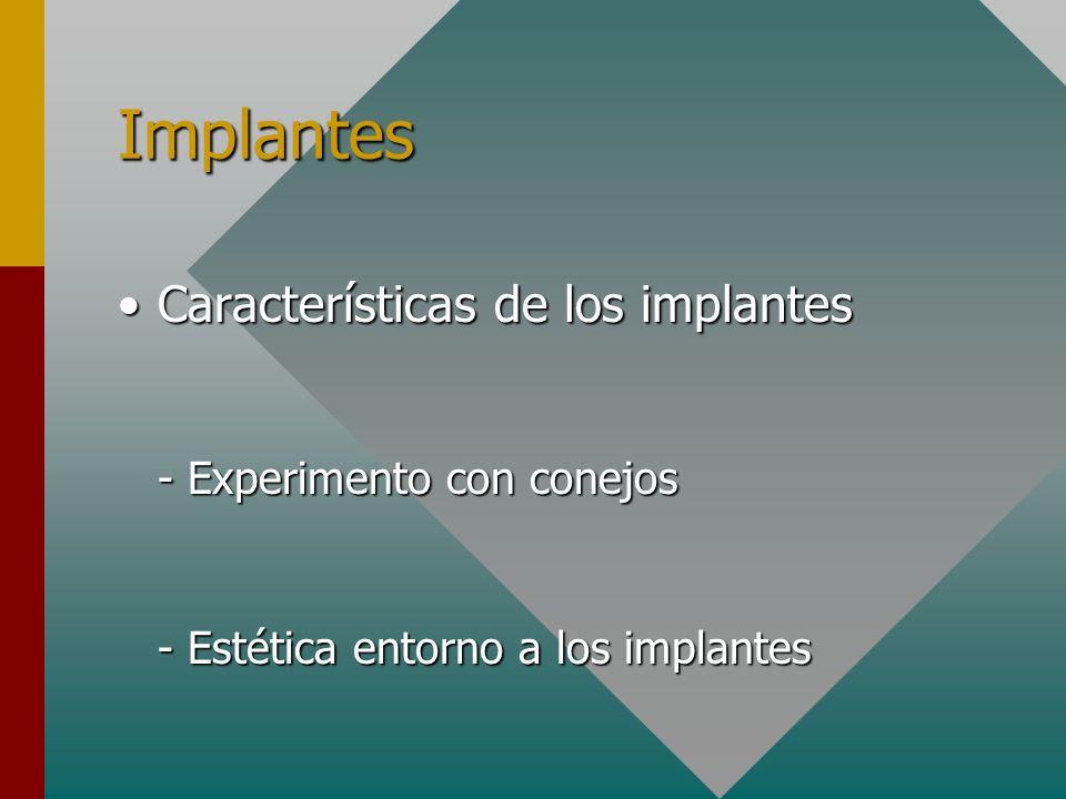 Implantes Características de los implantes - Experimento con conejos