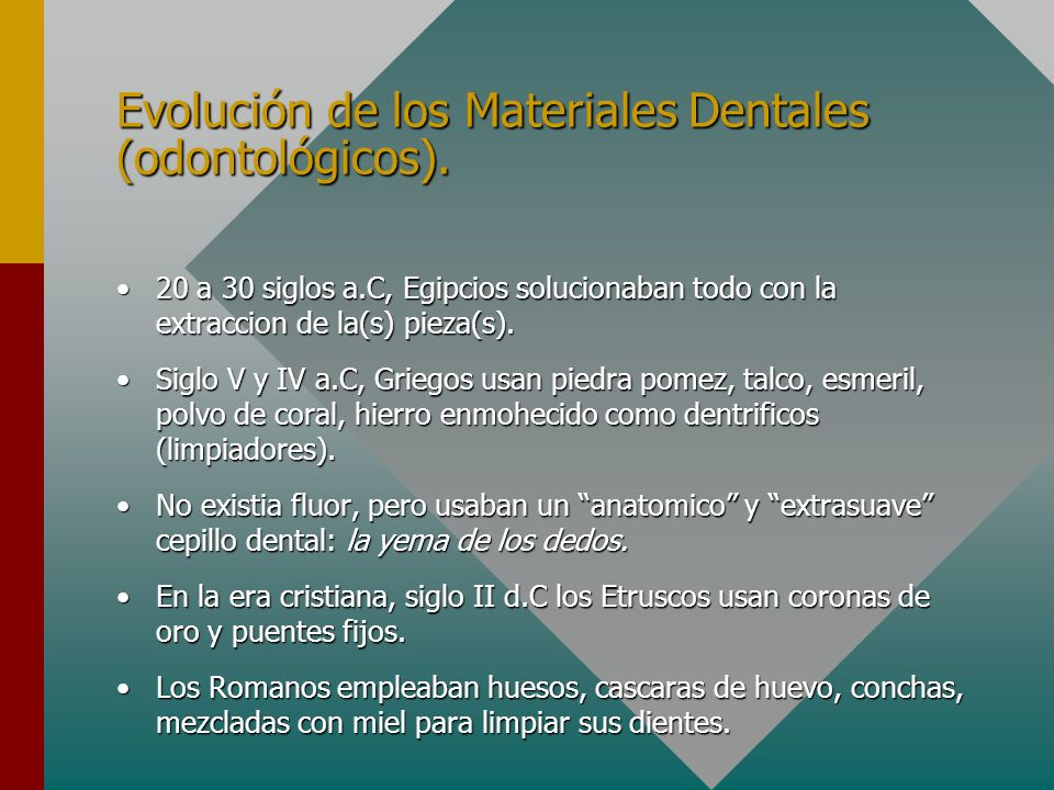 Evolución de los Materiales Dentales (odontológicos).