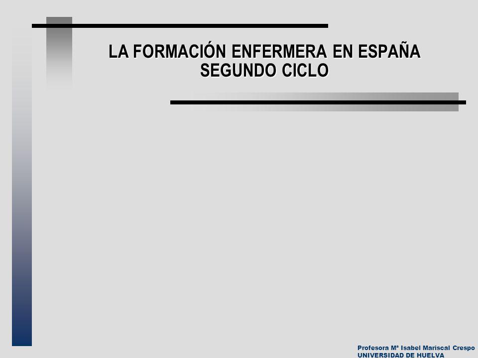 LA FORMACIÓN ENFERMERA EN ESPAÑA SEGUNDO CICLO