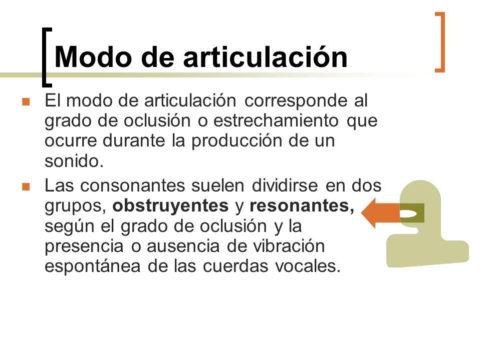Modo de articulación El modo de articulación corresponde al grado de oclusión o estrechamiento que ocurre durante la producción de un sonido.