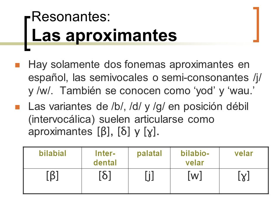 Resonantes: Las aproximantes