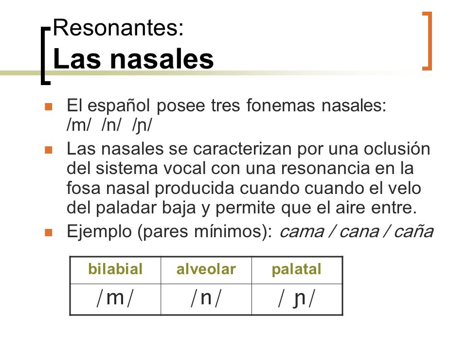 Resonantes: Las nasales