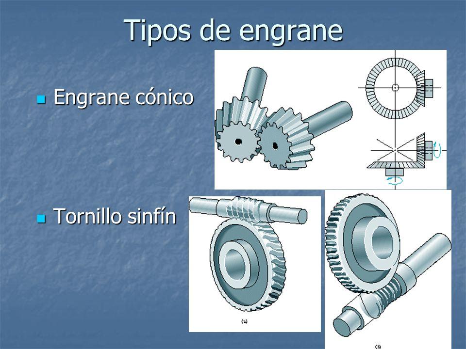 Tipos de engrane Engrane cónico Tornillo sinfín