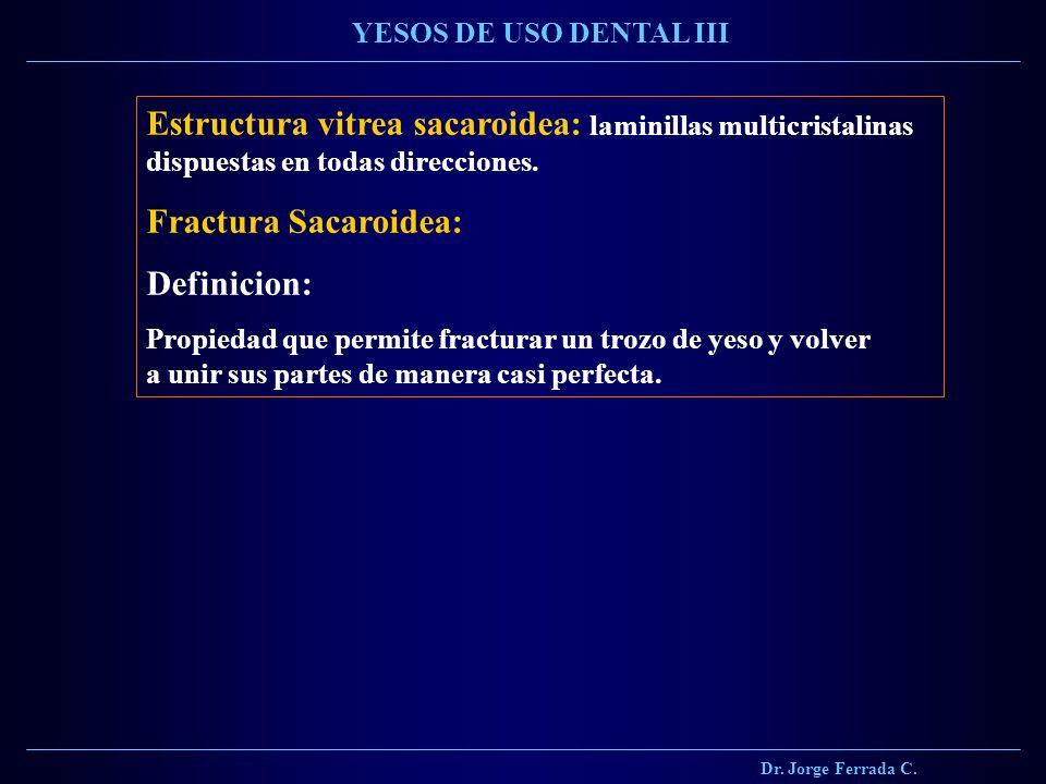 Dr. Jorge Ferrada C. YESOS DE USO DENTAL III. Estructura vitrea sacaroidea: laminillas multicristalinas dispuestas en todas direcciones.