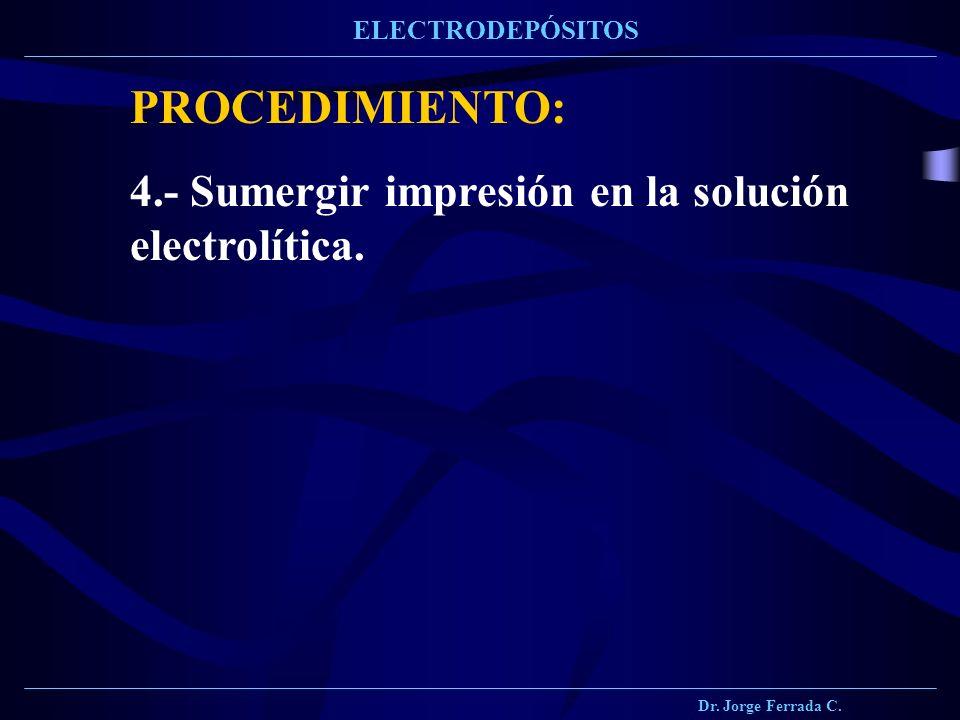 PROCEDIMIENTO: 4.- Sumergir impresión en la solución electrolítica.