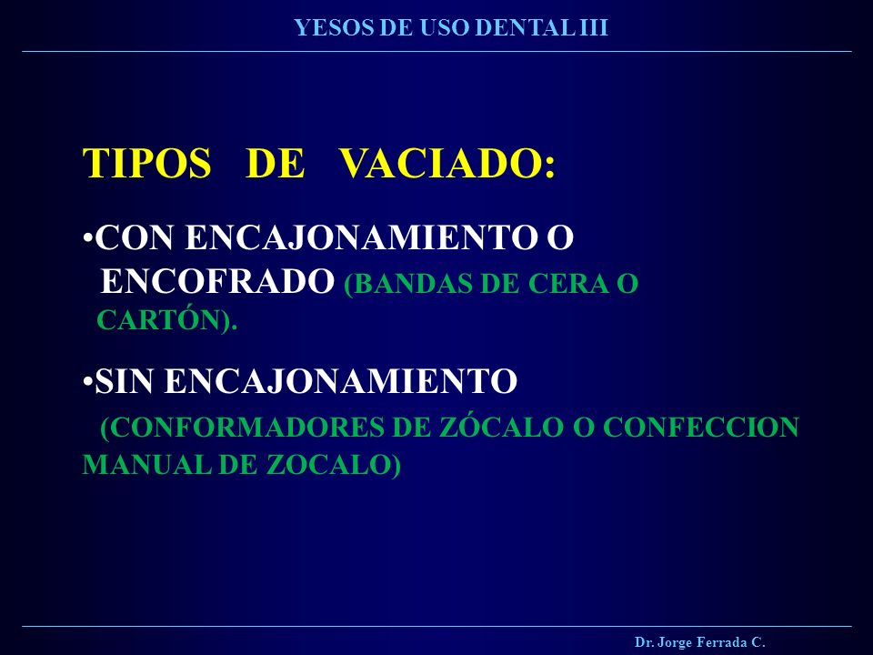 Materiales de vaciado alternativo ppt descargar for Tipos de zocalos
