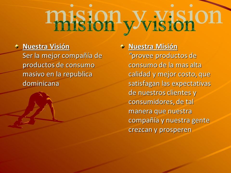 mision y vision Nuestra Visión Ser la mejor compañía de productos de consumo masivo en la republica dominicana.
