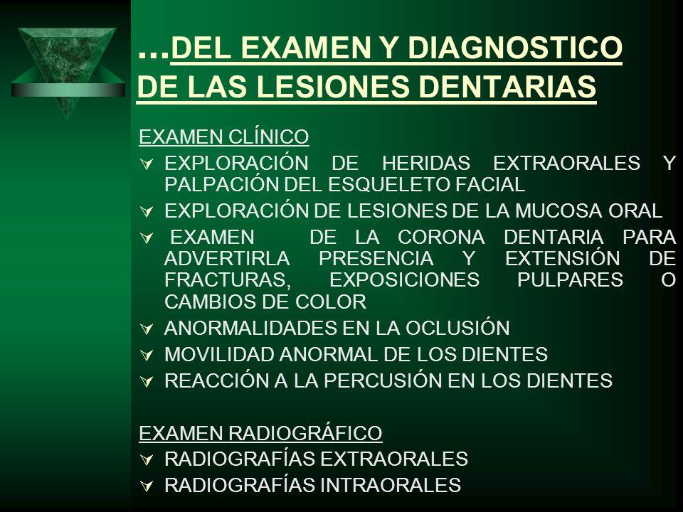 ...DEL EXAMEN Y DIAGNOSTICO DE LAS LESIONES DENTARIAS