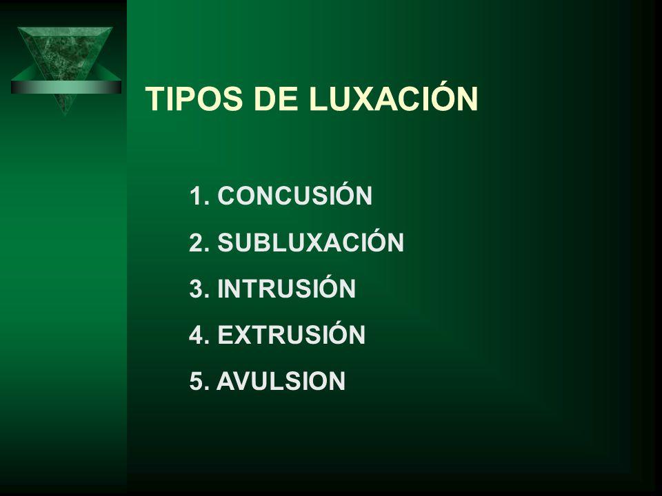 TIPOS DE LUXACIÓN 1. CONCUSIÓN 2. SUBLUXACIÓN 3. INTRUSIÓN