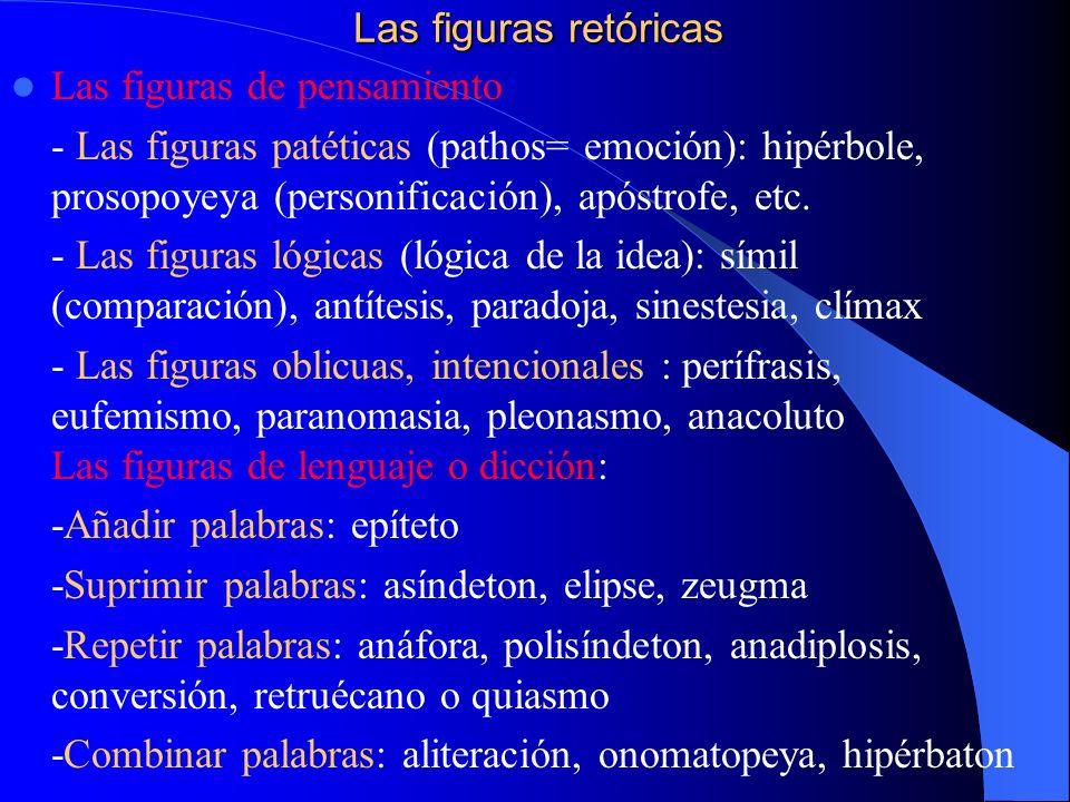 Las figuras retóricas Las figuras de pensamiento.