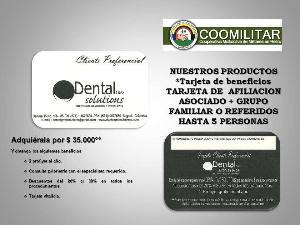 *Tarjeta de beneficios TARJETA DE AFILIACION