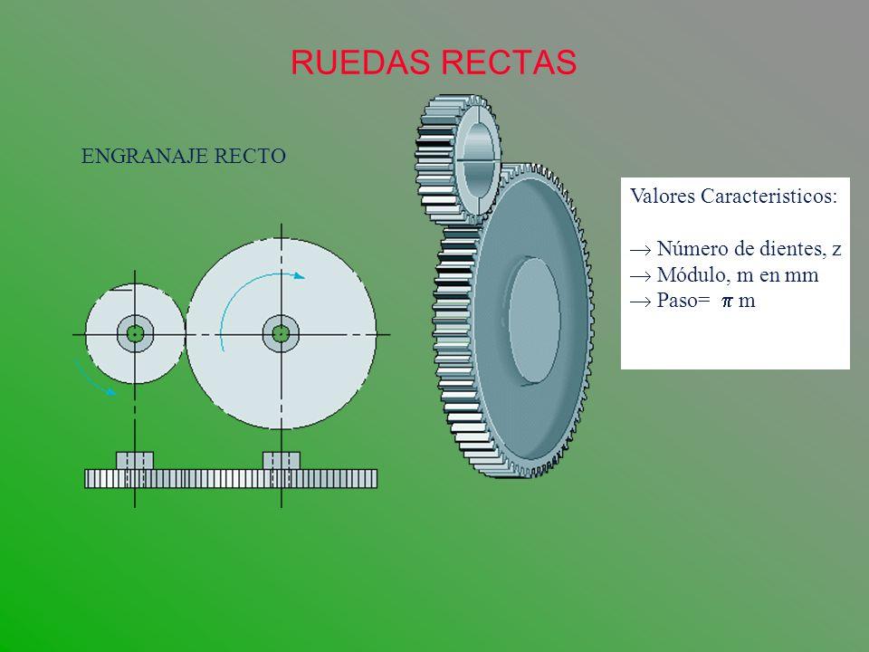 RUEDAS RECTAS ENGRANAJE RECTO Valores Caracteristicos: