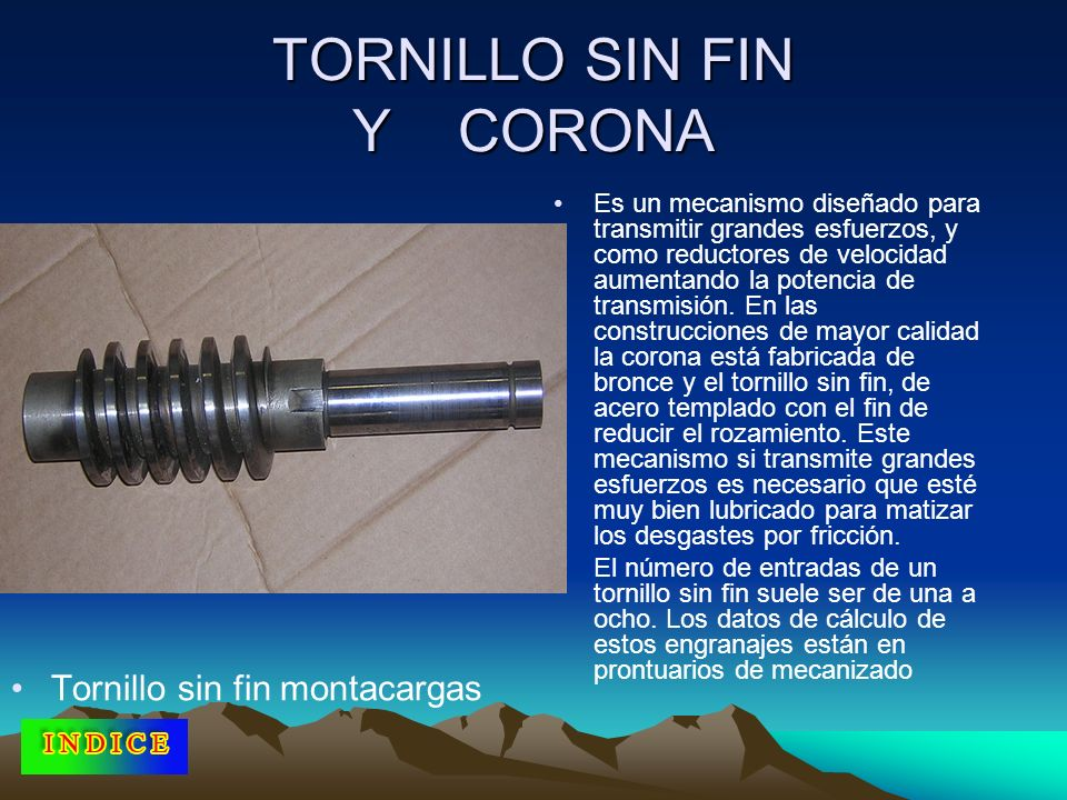 TORNILLO SIN FIN Y CORONA