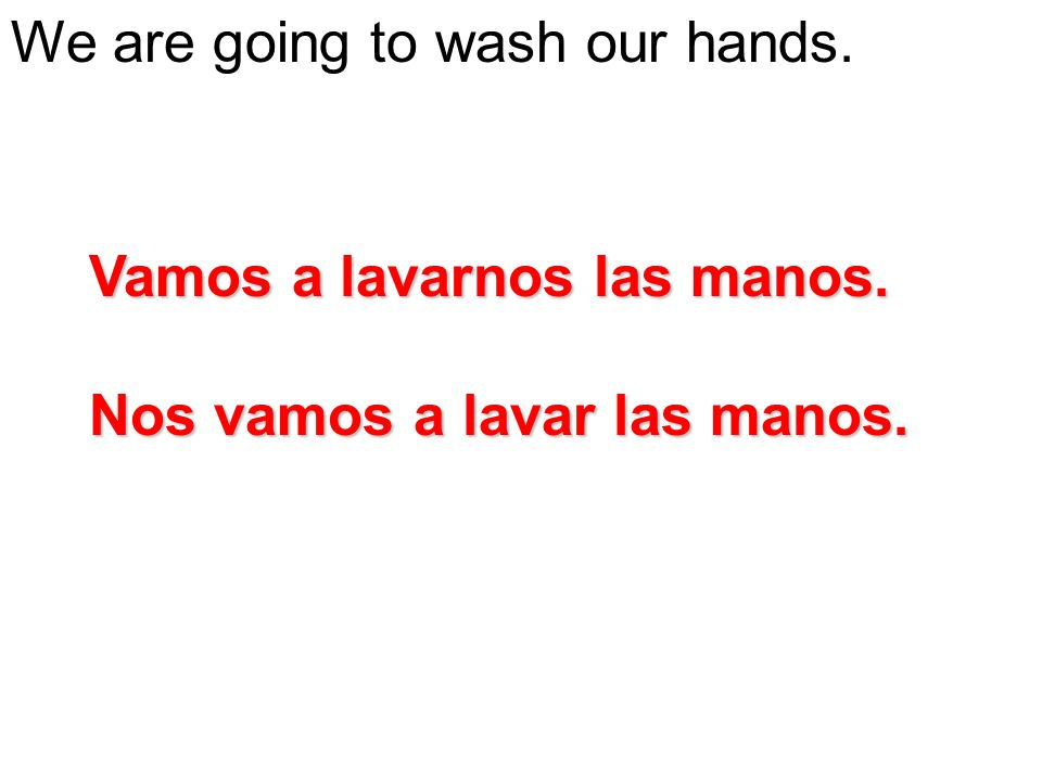We are going to wash our hands.