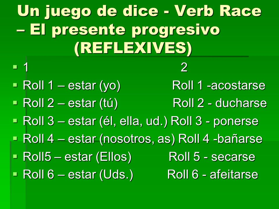 Un juego de dice - Verb Race – El presente progresivo (REFLEXIVES)