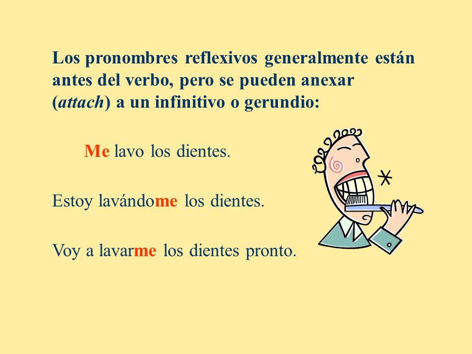 Los pronombres reflexivos generalmente están antes del verbo, pero se pueden anexar (attach) a un infinitivo o gerundio:
