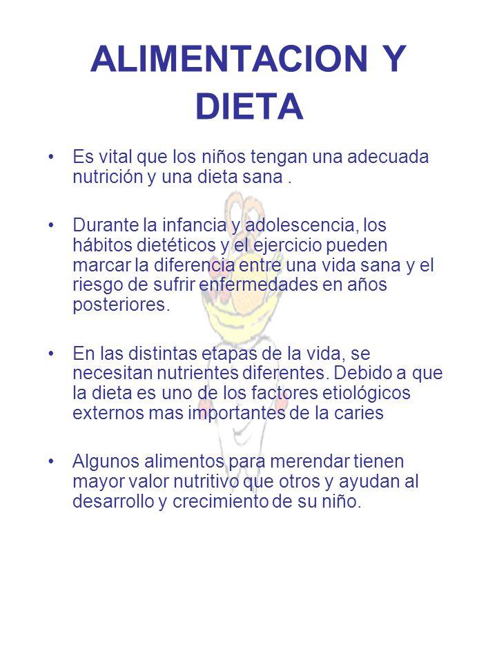 ALIMENTACION Y DIETA Es vital que los niños tengan una adecuada nutrición y una dieta sana .