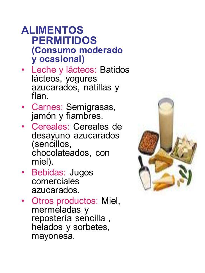ALIMENTOS PERMITIDOS (Consumo moderado y ocasional)
