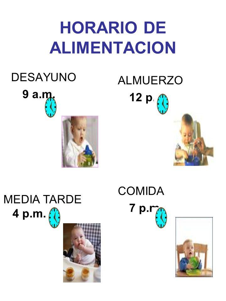 HORARIO DE ALIMENTACION