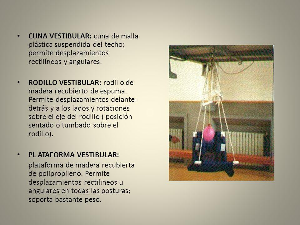 CUNA VESTIBULAR: cuna de malla plástica suspendida del techo; permite desplazamientos rectilíneos y angulares.