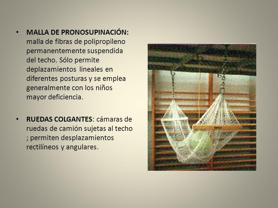 MALLA DE PRONOSUPINACIÓN: malla de fibras de polipropileno permanentemente suspendida del techo. Sólo permite deplazamientos lineales en diferentes posturas y se emplea generalmente con los niños mayor deficiencia.