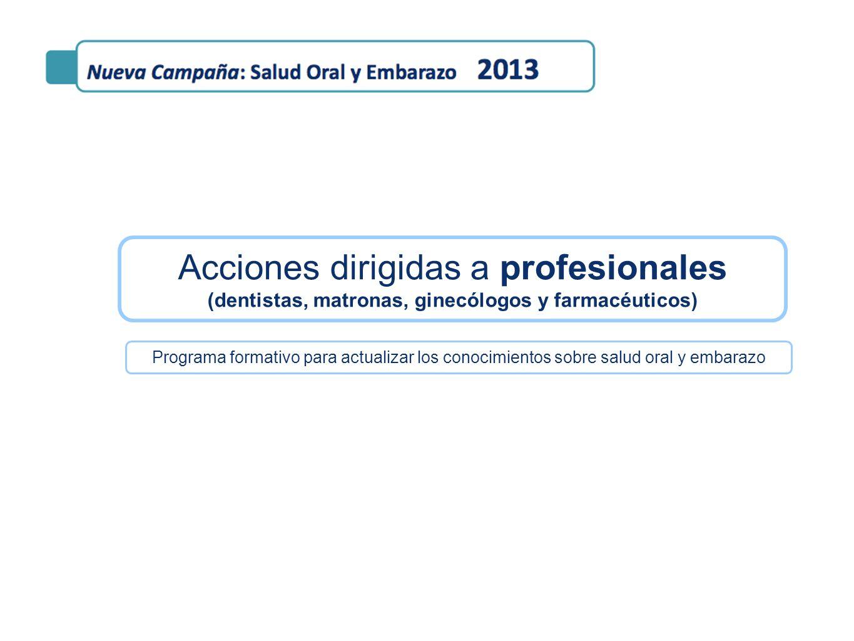 Acciones dirigidas a profesionales (dentistas, matronas, ginecólogos y farmacéuticos)