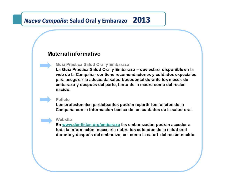 Material informativo Guía Práctica Salud Oral y Embarazo