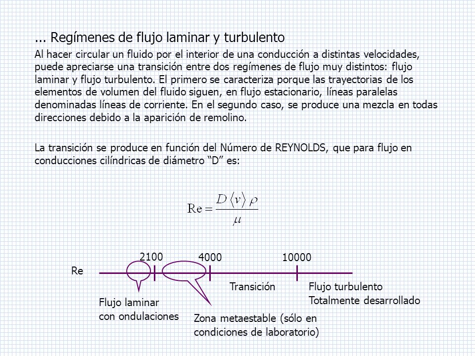 ... Regímenes de flujo laminar y turbulento