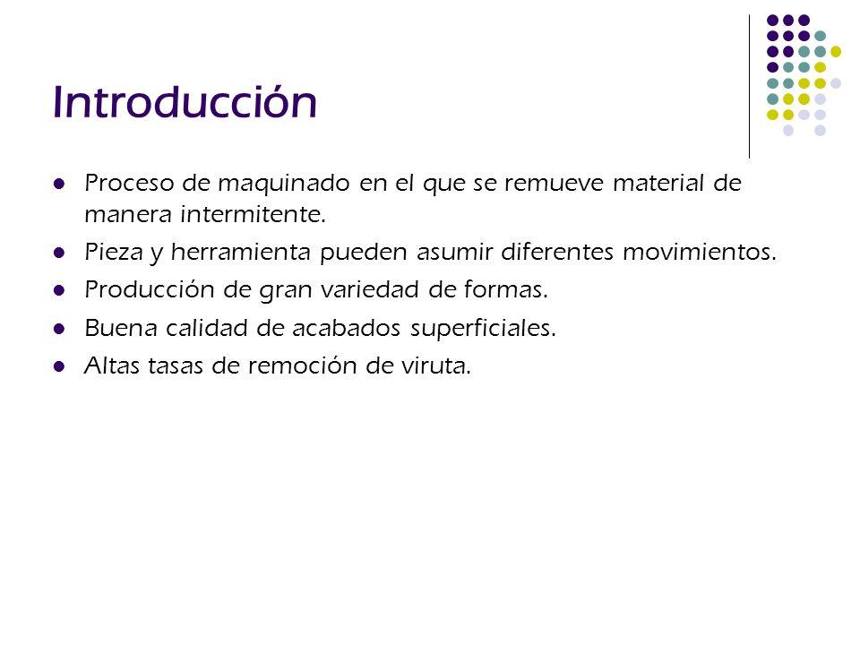 Introducción Proceso de maquinado en el que se remueve material de manera intermitente. Pieza y herramienta pueden asumir diferentes movimientos.