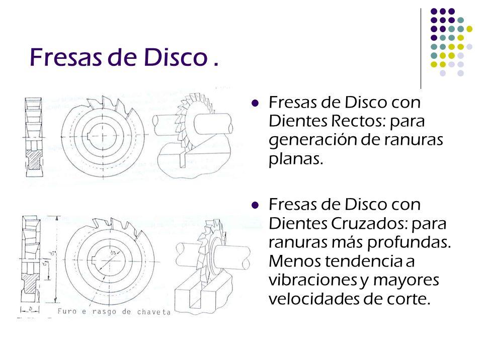 Fresas de Disco . Fresas de Disco con Dientes Rectos: para generación de ranuras planas.