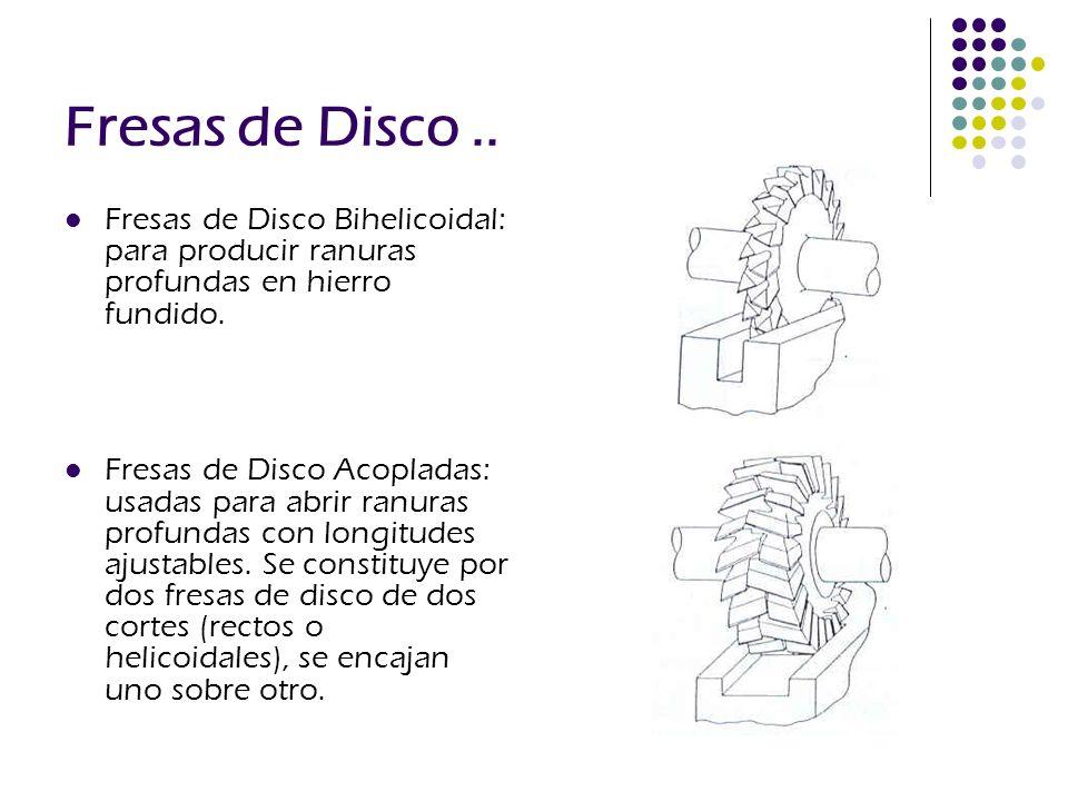 Fresas de Disco .. Fresas de Disco Bihelicoidal: para producir ranuras profundas en hierro fundido.