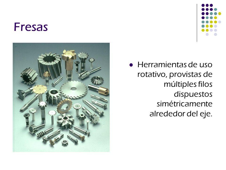 Fresas Herramientas de uso rotativo, provistas de múltiples filos dispuestos simétricamente alrededor del eje.