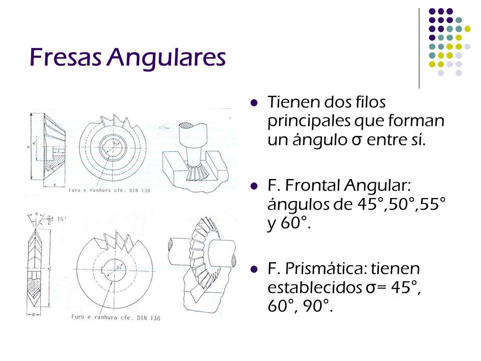 Fresas Angulares Tienen dos filos principales que forman un ángulo σ entre sí. F. Frontal Angular: ángulos de 45°,50°,55° y 60°.