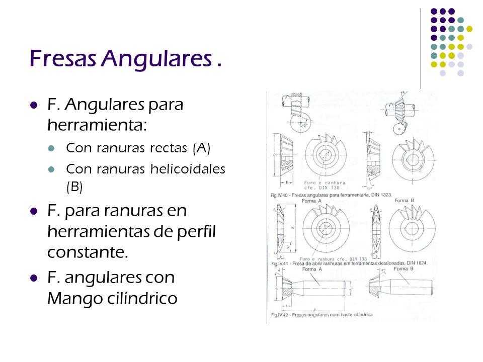 Fresas Angulares . F. Angulares para herramienta: