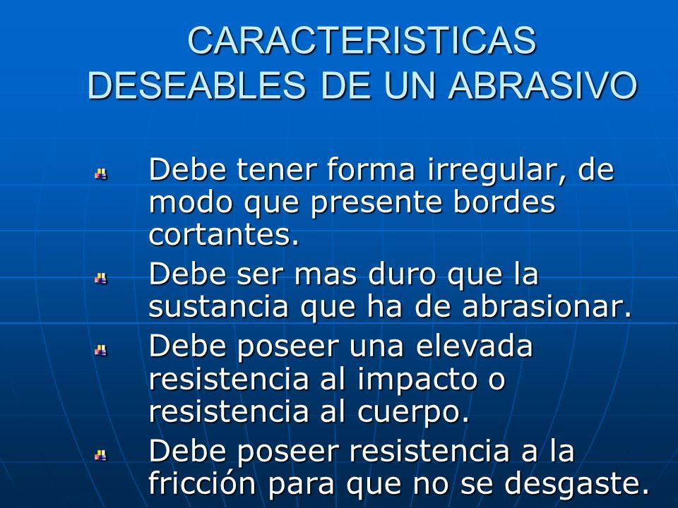 CARACTERISTICAS DESEABLES DE UN ABRASIVO