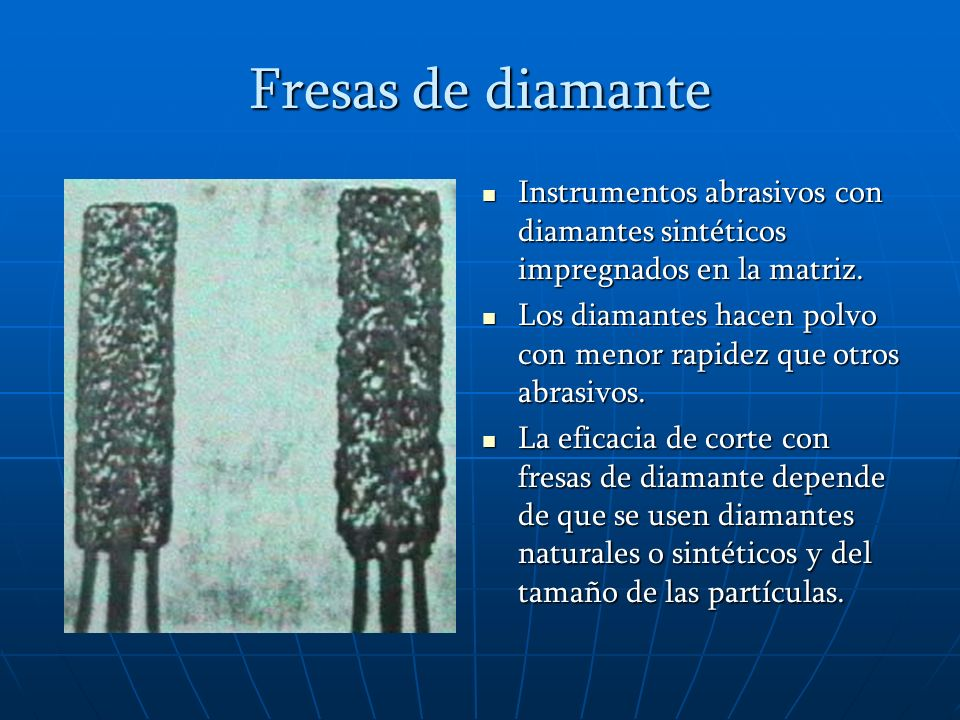 Fresas de diamante Instrumentos abrasivos con diamantes sintéticos impregnados en la matriz.
