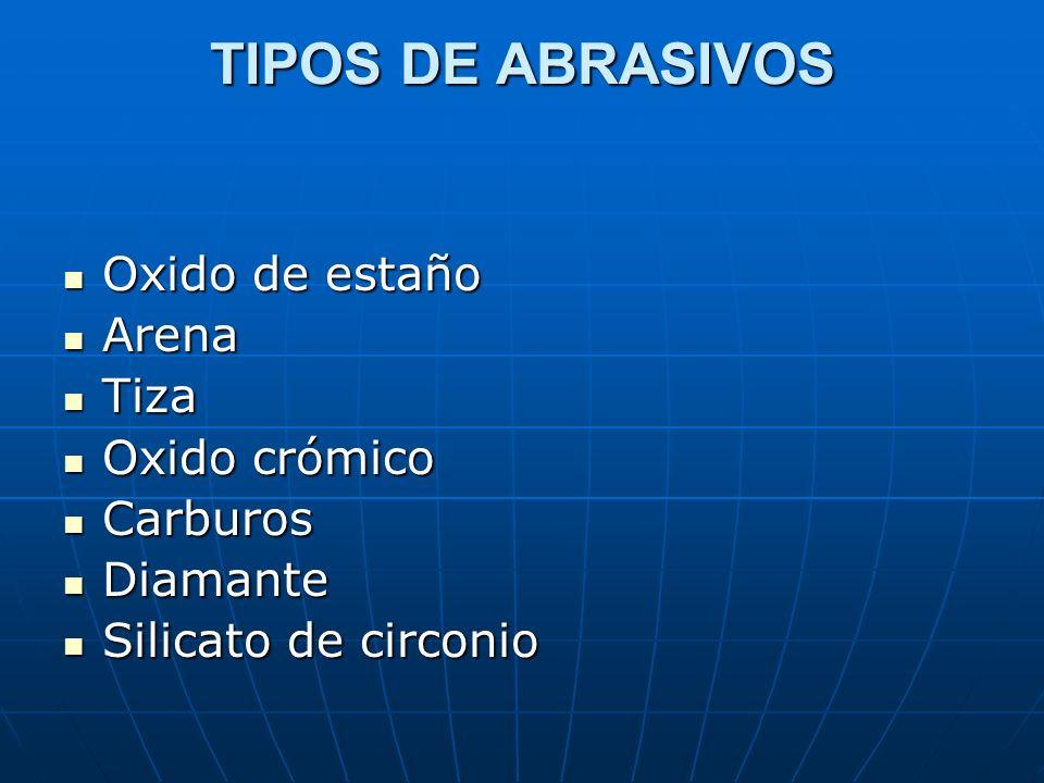 TIPOS DE ABRASIVOS Oxido de estaño Arena Tiza Oxido crómico Carburos