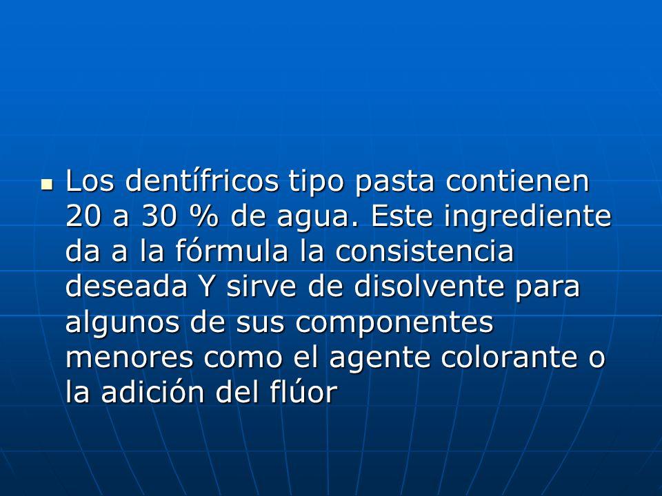 Los dentífricos tipo pasta contienen 20 a 30 % de agua