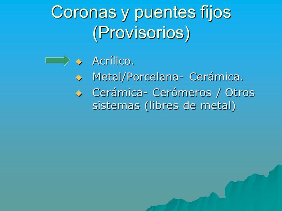 Coronas y puentes fijos (Provisorios)