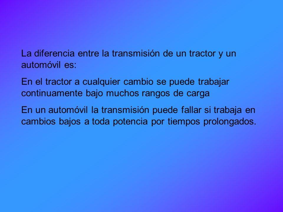 La diferencia entre la transmisión de un tractor y un automóvil es: