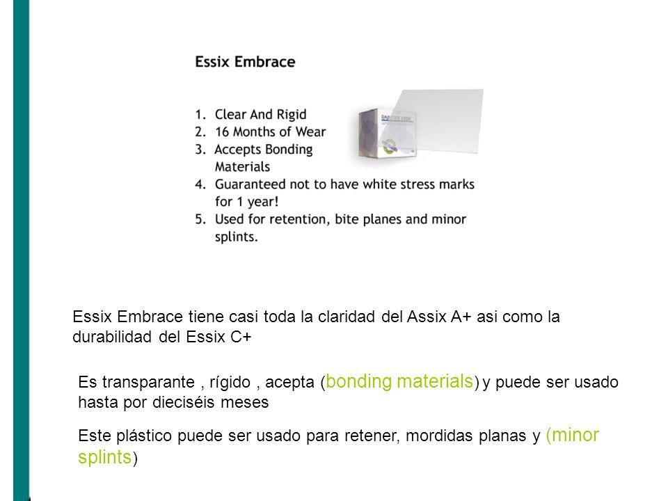 Essix Embrace tiene casi toda la claridad del Assix A+ asi como la durabilidad del Essix C+