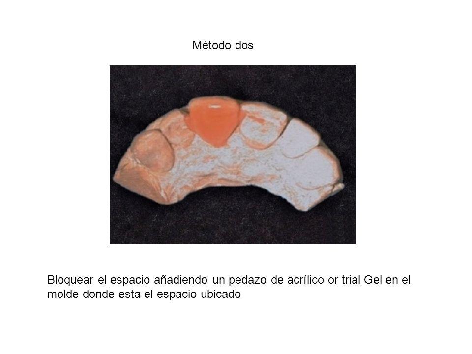 Método dos Bloquear el espacio añadiendo un pedazo de acrílico or trial Gel en el molde donde esta el espacio ubicado.