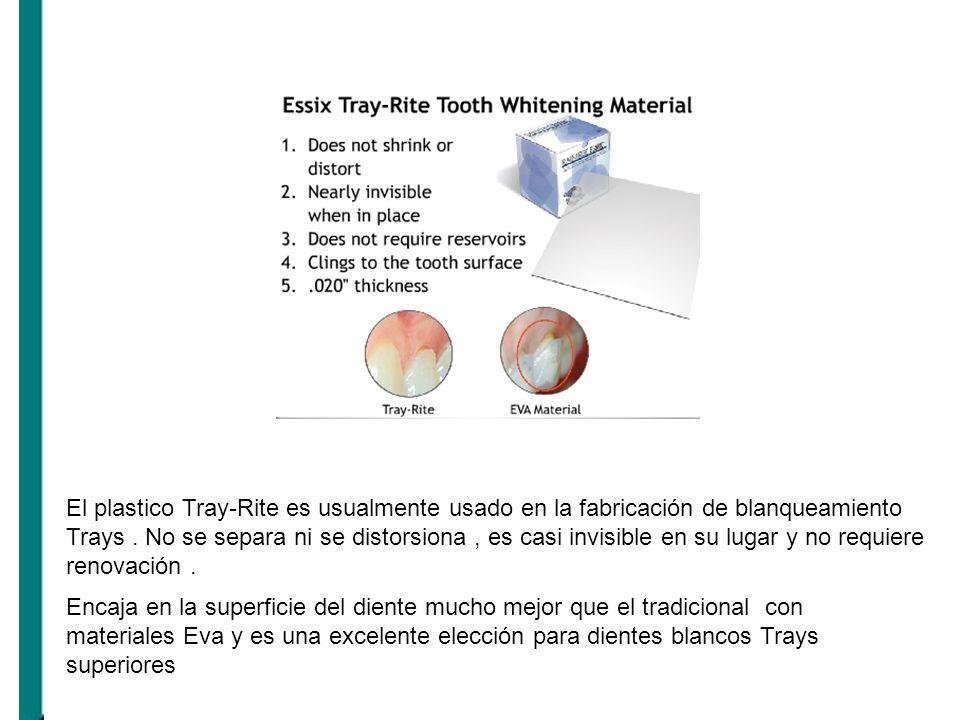El plastico Tray-Rite es usualmente usado en la fabricación de blanqueamiento Trays . No se separa ni se distorsiona , es casi invisible en su lugar y no requiere renovación .