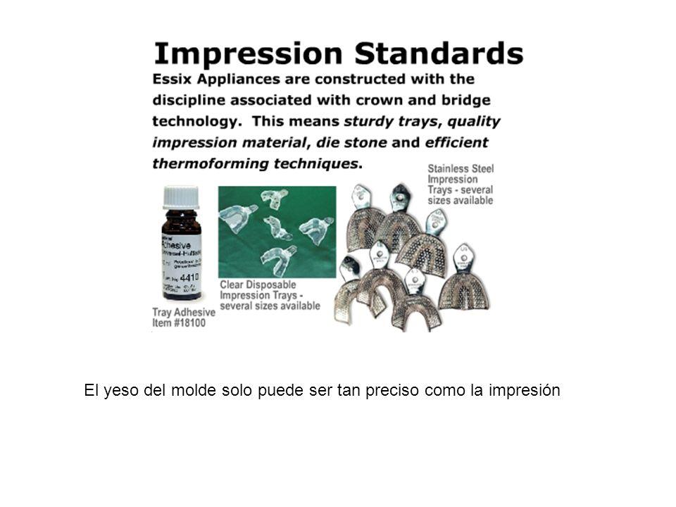 El yeso del molde solo puede ser tan preciso como la impresión