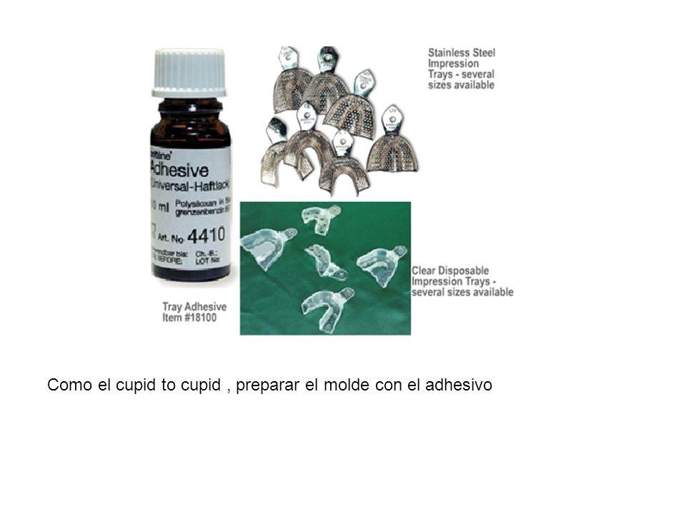 Como el cupid to cupid , preparar el molde con el adhesivo
