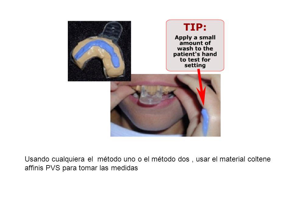 Usando cualquiera el método uno o el método dos , usar el material coltene affinis PVS para tomar las medidas